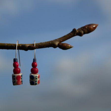 Pendientes étnicos de vidrio africano reciclado - Chewa