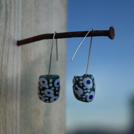 Pendientes étnicos de vidrio africano reciclado - Lele