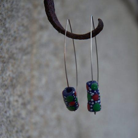 Pendientes étnicos de vidrio africano reciclado - Mbuun