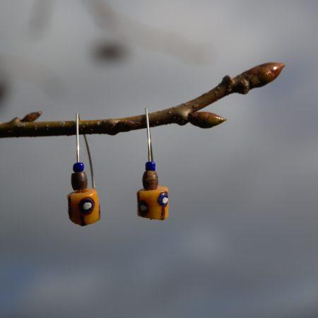 Pendientes étnicos de vidrio africano reciclado - Tutsi