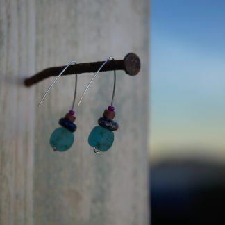Pendientes étnicos de vidrio africano reciclado - Serer