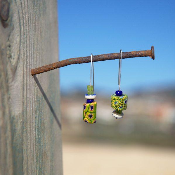 Pendientes étnicos de vidrio africano - Amuda