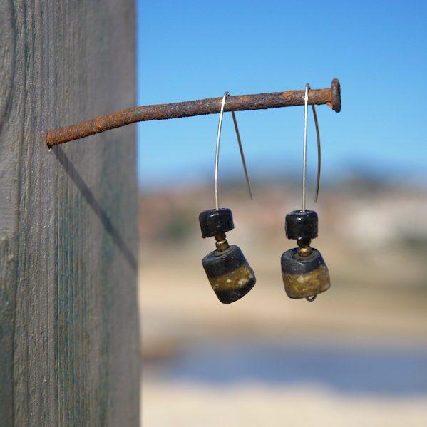 Pendientes étnicos de vidrio africano - Buta