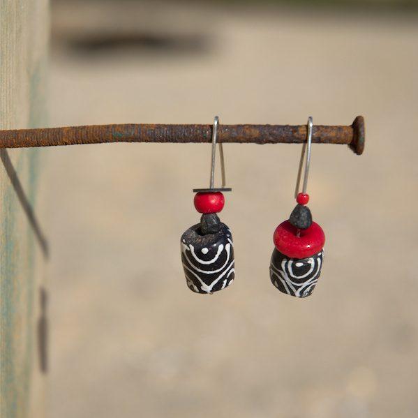 Pendientes étnicos de vidrio africano - Enenga