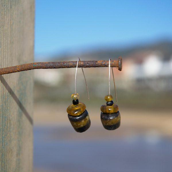 Pendientes étnicos de vidrio africano - Loko
